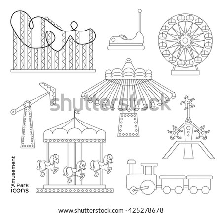 Amusement park or funfair attraction icons.  - stock photo