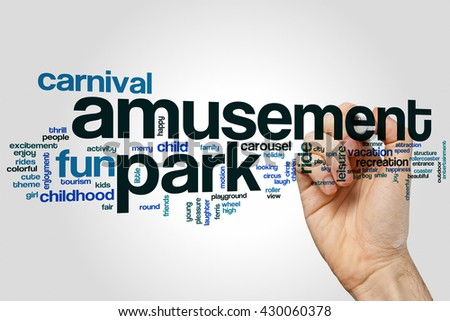 Amusement park word cloud concept with carnival ride related tags - stock photo
