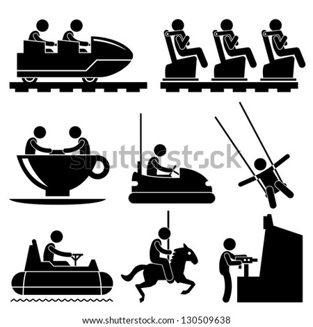 Amusement Theme Park People Playing Stick Figure Pictogram Icon - stock photo