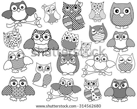 Amusing and funny twenty ornamental owls set, black contours isolated on white background - stock photo