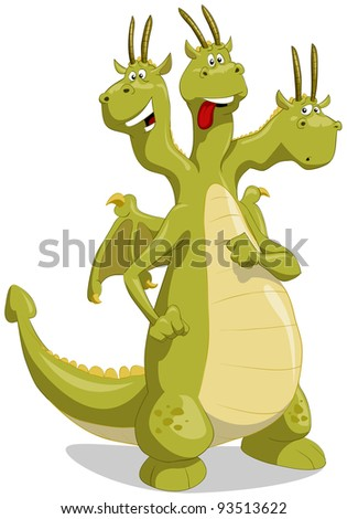 Amusing green dragon with three heads, raster