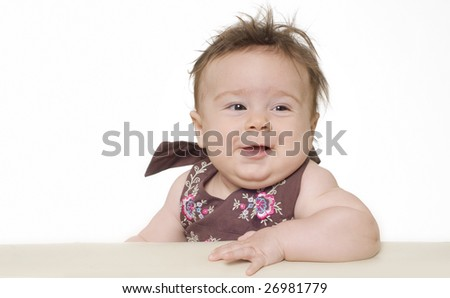 Amusing portrait of a cute baby