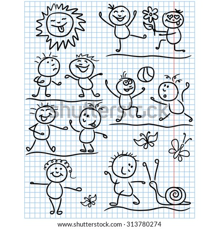 Amusing smiling sun and set of several kid figures in various funny scenes, sketching cartoon artwork as a childish drawing on a sheet of school copybook - stock photo