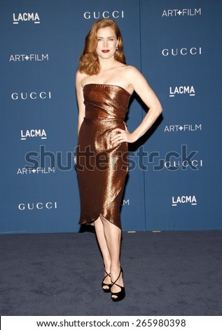 Amy Adams at the LACMA 2013 Art + Film Gala Honoring Martin Scorsese And David Hockney held at the LACMA in Los Angeles on November 2, 2013 in Los Angeles, California.  - stock photo