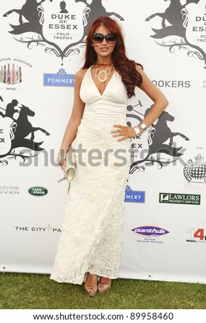 Amy Childs arrives for the 2011 Duke of Essex Polo at Gaynes Park, Essex, London. 10/07/2011  Picture by: Steve Vas / Featureflash