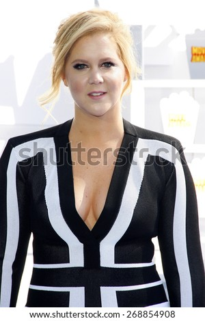 Amy Schumer at the 2015 MTV Movie Awards held at the Nokia Theatre L.A. Live in Los Angeles, USA on April 12, 2015.  - stock photo