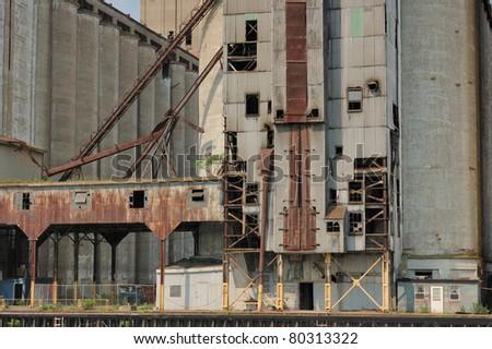 An abandoned grain elevator in Buffalo New York. - stock photo