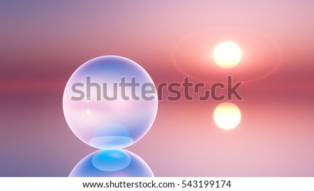 an abstract background crystal ball on horizon sun, 3d illustration.