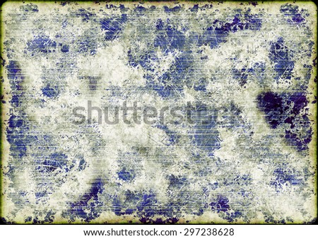 An abstract background in distressed texture grunge style in blue with copy space and frame - stock photo