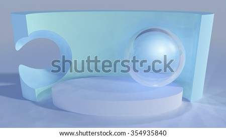 An abstract background stage platform with glass sphere and wall backdrop art sculpture