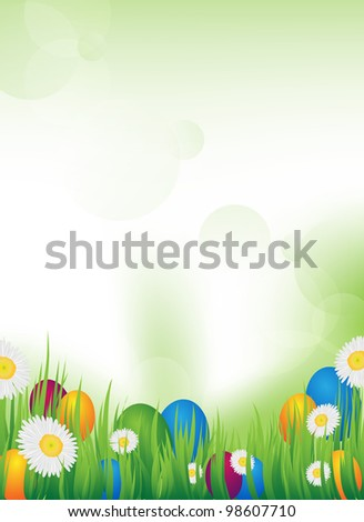 an abstract background with grass and easter eggs