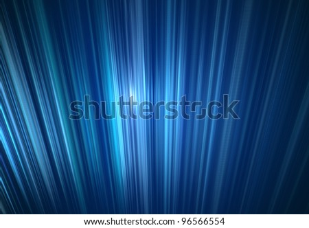 An abstract blue light ray wall background. - stock photo