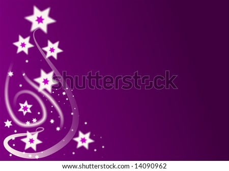 An abstract christmas background on a graduated purple base with white stars and swirls and room for text.