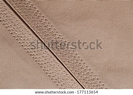 An abstract close up image of the fine detailed stitching seen in the Kandura, the ankle-length garment, usually worn by men in Arab Countries - stock photo