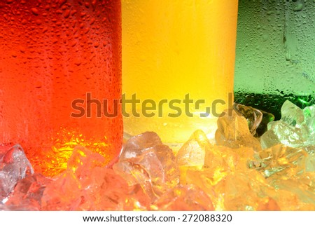 An abstract closeup of three soda bottles in ice with condensation.  - stock photo