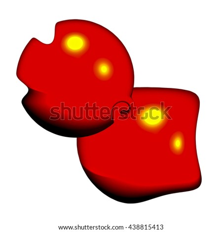 An abstract 3d illustration of two harmonious glossy red shapes to form an interesting, unusual and thought provoking background in the genre of modern art and design.