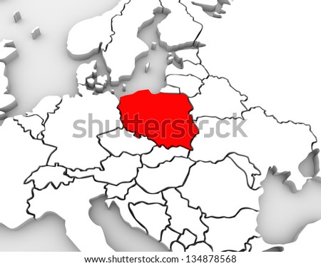 An abstract 3d map of Europe and the northern and eastern region with Poland highlighted in red and surrounding countries Germany and others - stock photo