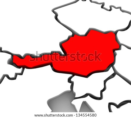An abstract 3d map of Europe the continent and several countries, with Austria highlighted in red, surrounded by Germany, Switzerland, Italy and other European states - stock photo