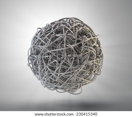 An abstract 3d rendering of tangled metal splines - stock photo