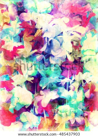An abstract digital painting of a floral pattern in retro pastel tones