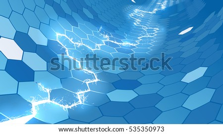 An abstract electric lightning blue honeycomb hexagon background