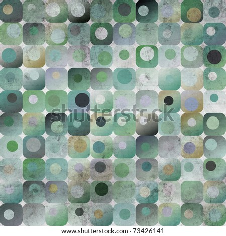 An abstract grungy image of squares with nested circles in blue and green tones - stock photo