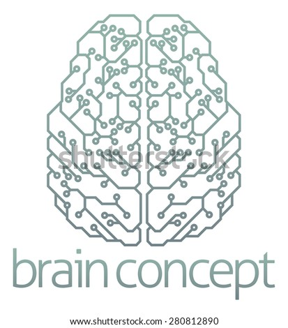An abstract illustration of a brain computer circuit concept design - stock photo