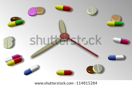 An abstract illustration of a clock and different tablets and pills replacing clock numbers / Time for medication