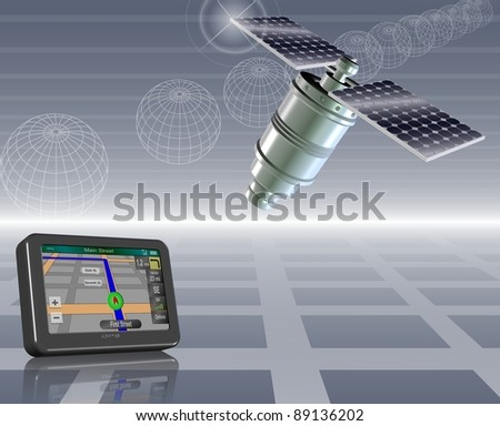 An abstract illustration of a global positioning system / Satellite and GPS - stock photo
