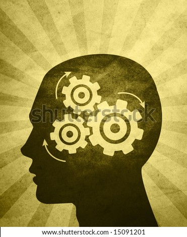 An abstractÃ? illustration of aÃ?silhouettedÃ?head thinking hard trying to solve problems / answer questions.