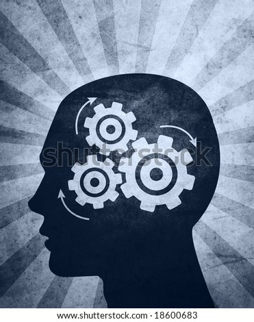 An abstract? illustration of a?silhouetted?head thinking hard trying to solve problems / answer questions.