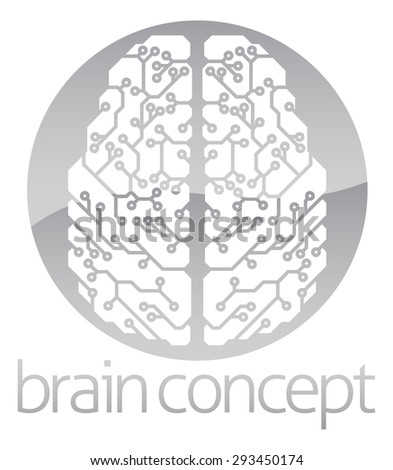 An abstract illustration of an electronic brain, ai artificial intelligence circle concept design - stock photo