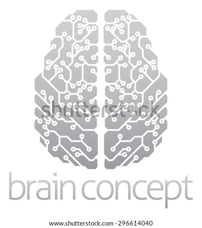 An abstract illustration of an electronic brain, ai artificial intelligence concept - stock photo