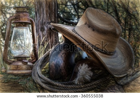 An abstract image of old west style objects. - stock photo