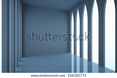 An abstract interior of which are located on both sides of the Gothic windows.