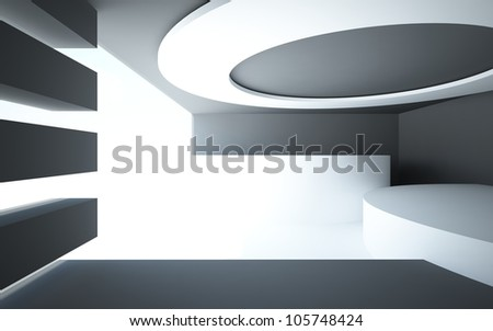 An abstract interior with black walls, floors and white glossy circular chandelier - stock photo