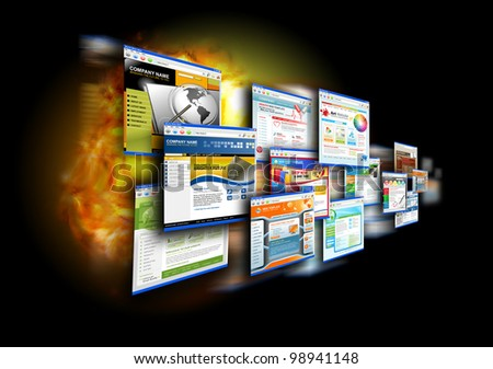 An abstract internet gallery with different website templates on it. There is a fire flame glow in the black background for a speed effect. Use it for a technology design concept. - stock photo