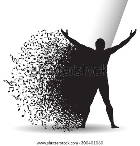 An Abstract Joy of Music Background with Musical Notes and a Man - stock photo