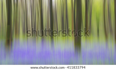 An abstract look at an English bluebell wood.