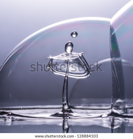 An abstract macro shot of a water drop collision inside a bubble!