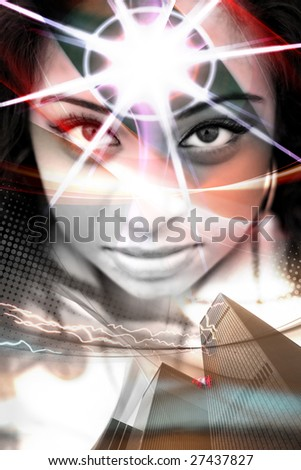 An abstract montage of a beautiful  woman with a starburst coming from her forehead. - stock photo