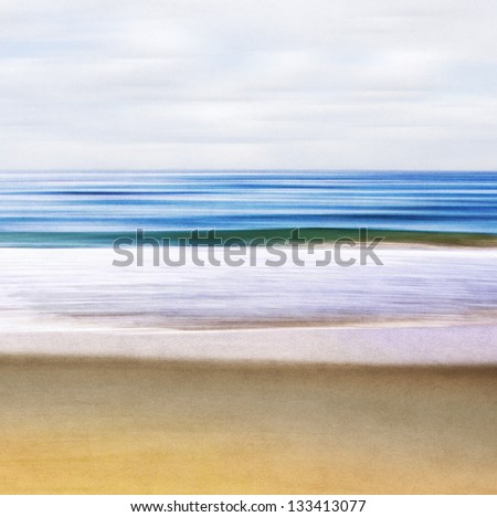 An abstract ocean seascape with blurred motion.  Image displays a paper texture and pleasing grain pattern when viewed at 100%.