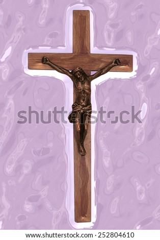 An abstract of Christ on the cross against a pink paint daubed background - stock photo