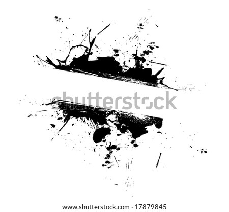 An abstract paint splatter frame in black and white.  This vector is fully editable.