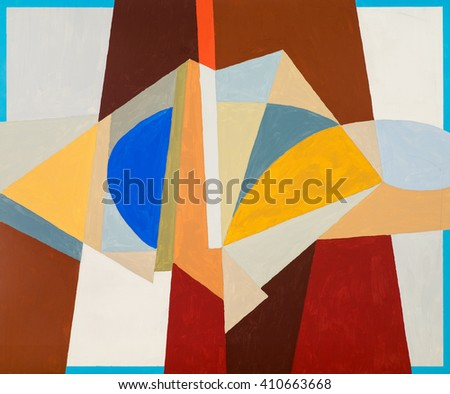 An abstract painting; central colours in pastel shades. - stock photo