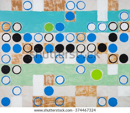 An abstract painting; circles on a regular grid - stock photo
