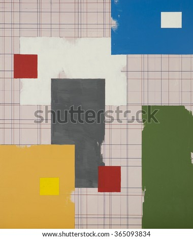 an abstract painting with a regular grid background and large floating blocks of colour - stock photo