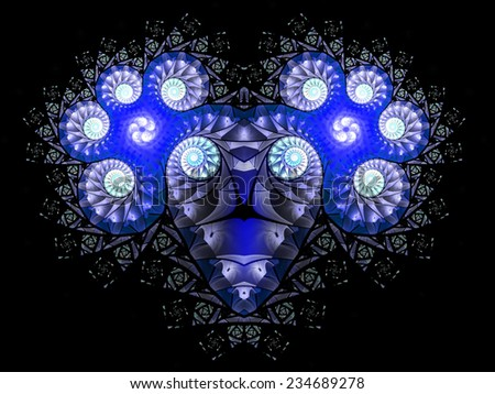 An abstract pattern reminiscent of the blue zodiac sign Aries. Fractal art graphics - stock photo
