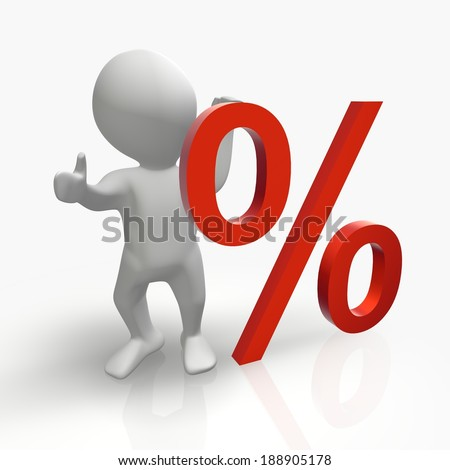 An abstract person showing a discount in percent symbol.