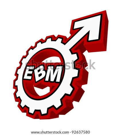 "An abstract raster illustration of a mars symbol gear with the text ""EBM"" inside."